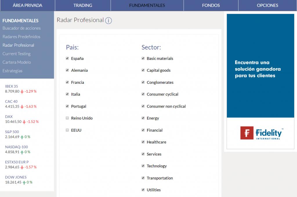 KAU+ radar fundamentales - toda los sectores menos financial y utilities