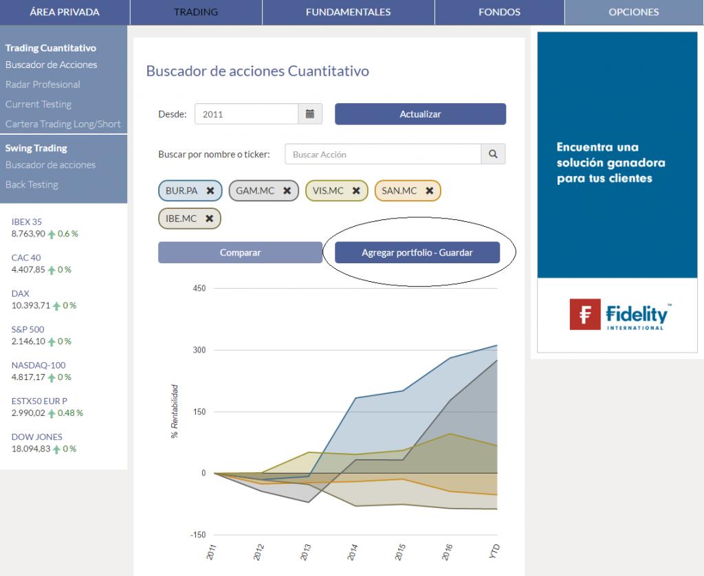 KAU+ Profesional - Buscador de acciones cuantitativo - Agregar portfolio
