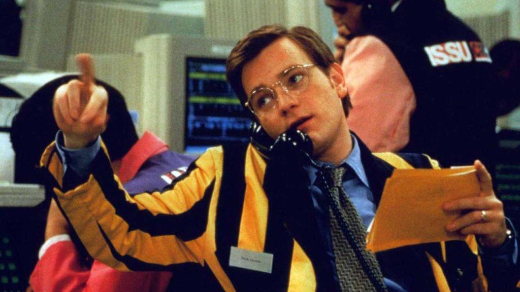 Nick Leeson (Ewan McGregor) trader.