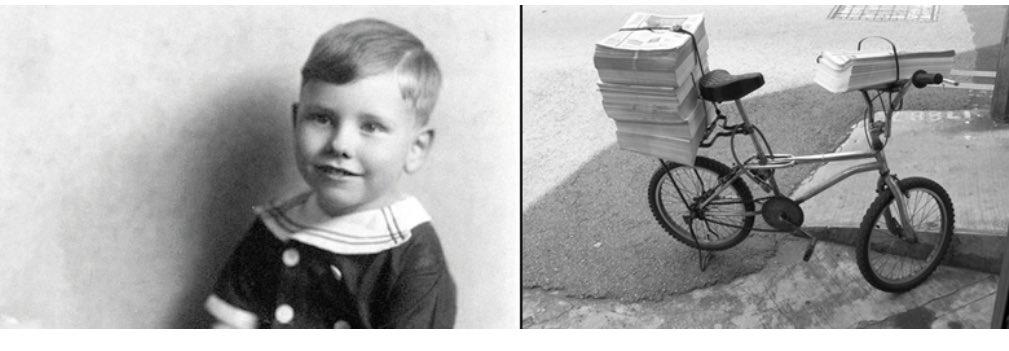 Warren Buffett de niño y la bicicleta con la que repartía periódicos.