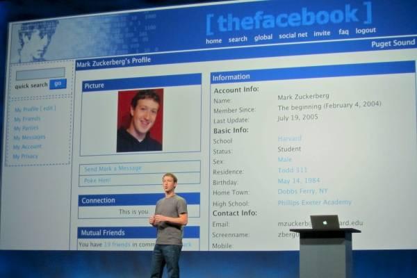 Mark Zuckerberg en la presentación de Thefacebook