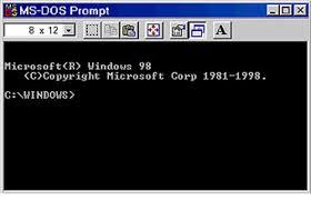 Ventana de ejecución de MS-DOS de Microsoft