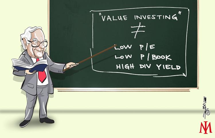 Caricatura de Warren Buffett explicando el Value Investing en una pizarra.