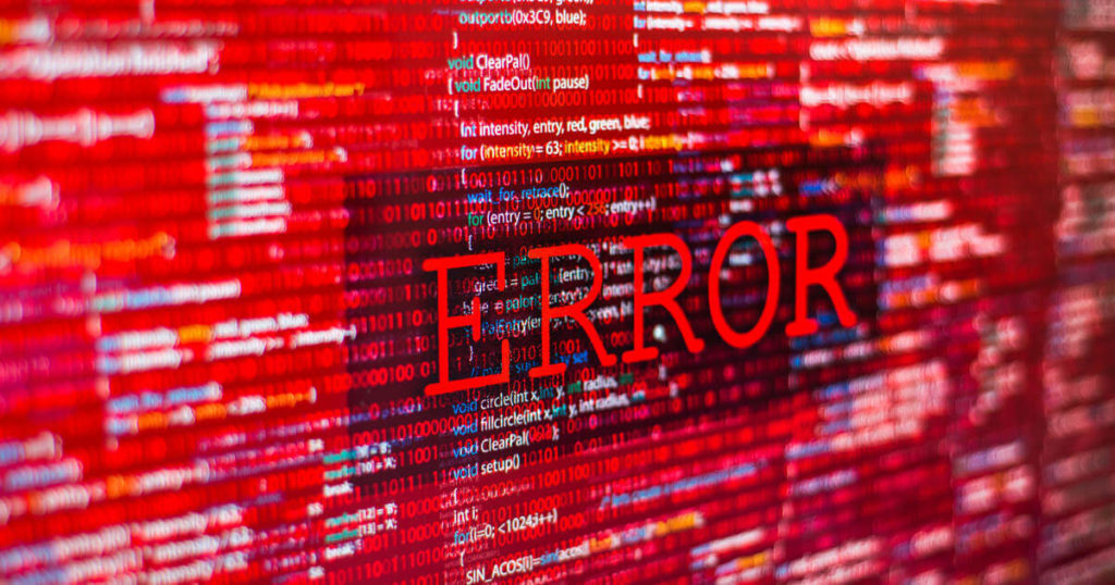 """Pantalla en la que se puede leer la palabra """"ERROR""""."""