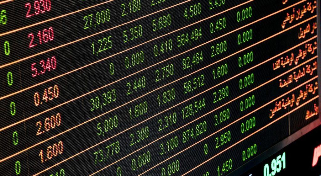 Pantalla de un mercado de valores.